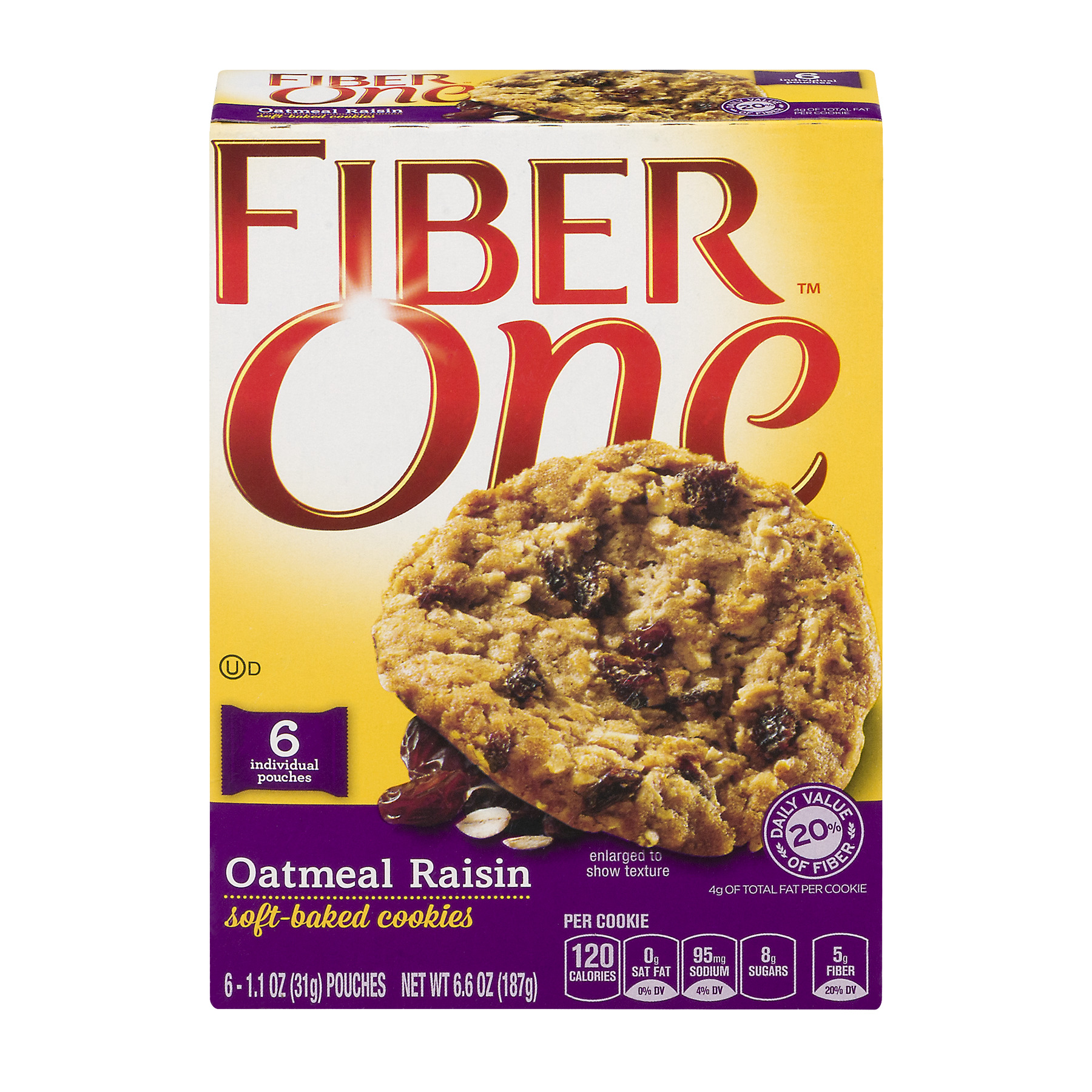 Fiber One™ Oatmeal Raisin Soft-Baked Cookies 6 ct Box, 1.1 OZ