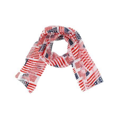 Size one size Women's American Flag Print Lightweight Scarf, Multi-Color