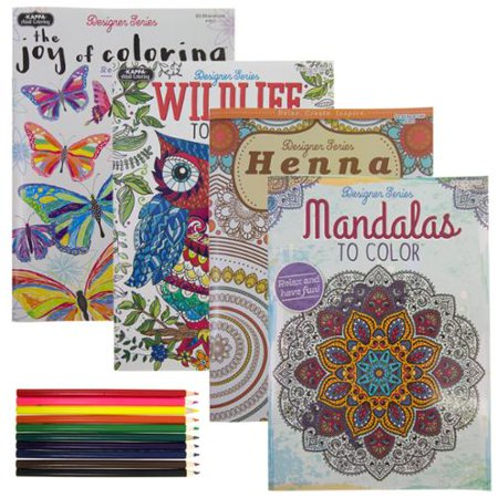 4 Adult Coloring Books Designer Series 10 Colored Pencils