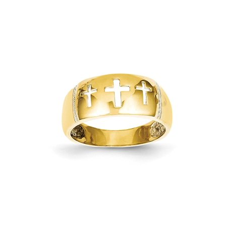 14kt Yellow Gold Cut Out 3 Cross Religious Band Ring Size 7.50 Fine Jewelry Ideal Gifts For Women Gift Set From Heart