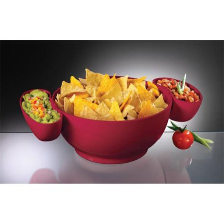 CD-10-R Chip Bowl with Two Dip Clips  3 Piece - Chip Bowl