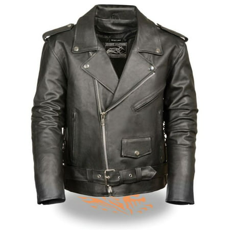 Classic Side Lace Motorcycle Jacket - Milwaukee Event Mens Classic Side Lace M/C Jacket Black