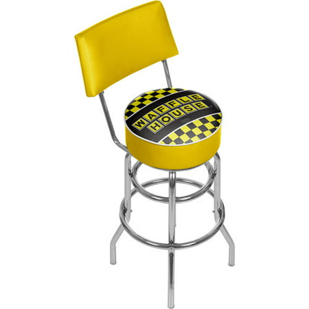 Waffle House Checkered Padded Swivel Bar Stool with Back
