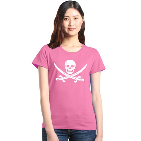 Shop4Ever Women's Pirate Flag Skull Scimitars Graphic T-Shirt (Woman Pirate Shirt)