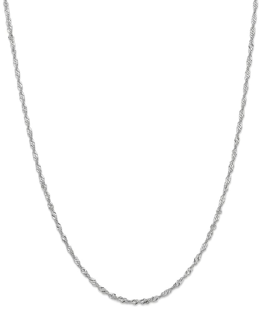 ICE CARATS ICE CARATS 14kt White Gold 2mm Link Singapore Chain Necklace 18 Inch Pendant Charm Fine Jewelry Ideal Gifts... by IceCarats Designer Jewelry Gift USA