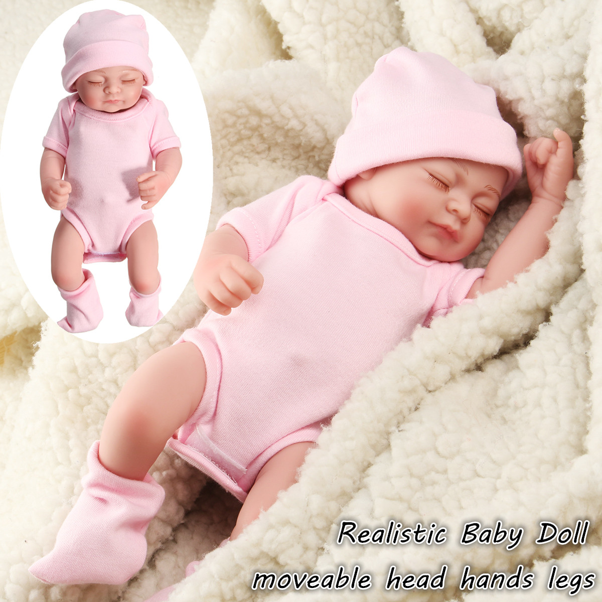 11'' Realistic Silicone Vinyl Sleeping Reborn Babies Doll That Look Real Lifelike Realike Alive Newborn Girl Dolls Handmade Weighted Alive Doll for Toddler Kid Gifts