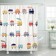 PKNMT Pattern Cute Color Trains Kid Boy Baby Car Child Shower Curtain 60x72 inches