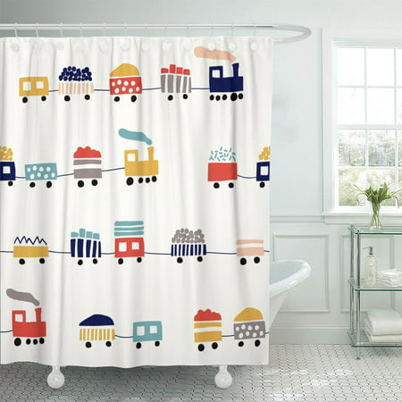 PKNMT Pattern Cute Color Trains Kid Boy Baby Car Child Shower Curtain 60x72 - Boys In The Shower