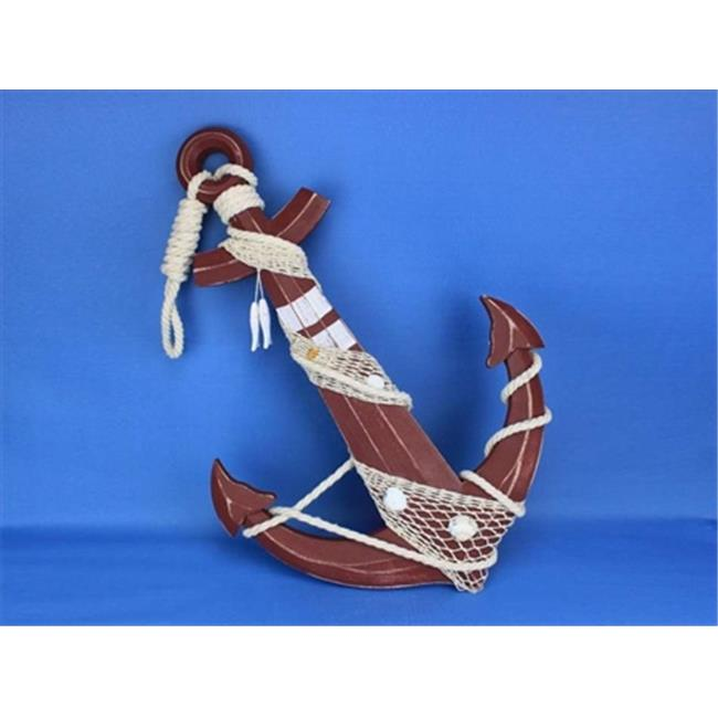 Handcrafted Model Ships Red-Anchor-24 Wooden Rustic Red Anchor With Hook Rope and Shells 24 inch Decorative Accent