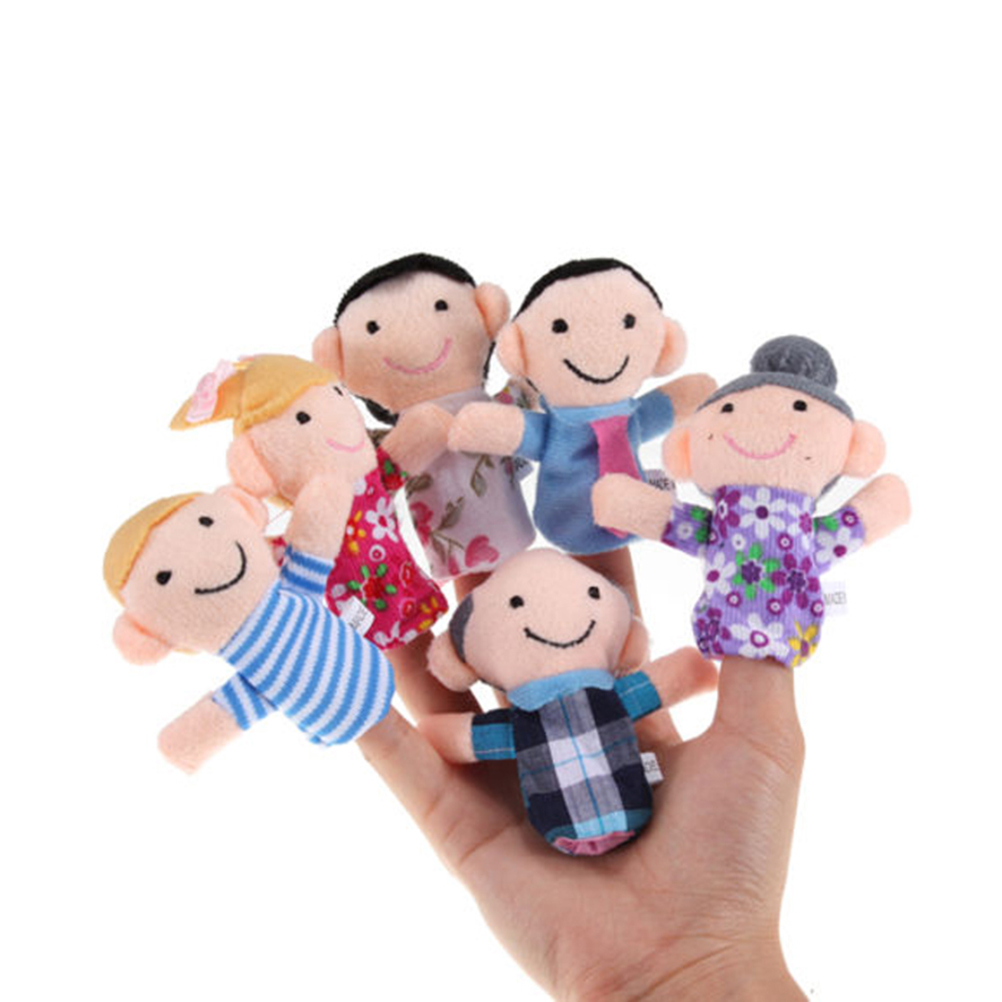 Family Mermbers Finger Hand Puppet Play Learn Story Toy, 6pcs Pack