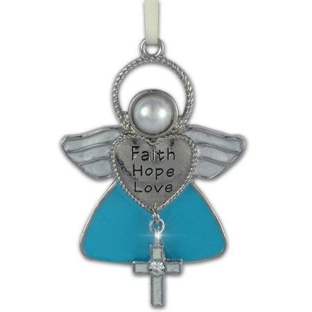 - FAITH HOPE LOVE Angel Metal Hanging Ornament with Cross Charm - 2.5 Inch