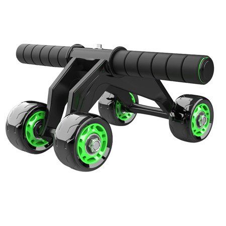 Ab Wheel Roller, 4 Wheel Fitness Ab Roller Sturdy and Smooth Rolling Perfect For Weight Loss Portable Quiet Home Gym Fitness Workout with Knee Pad Mat For Men and (Green Ab Rhinestone)