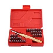 Mgaxyff 38pc Automatic Letter Number Stamping Metal Punch Stamp Set Tool Kit for Plastics Leather Mark,Punch Stamp Set, Punch Stamp Sets