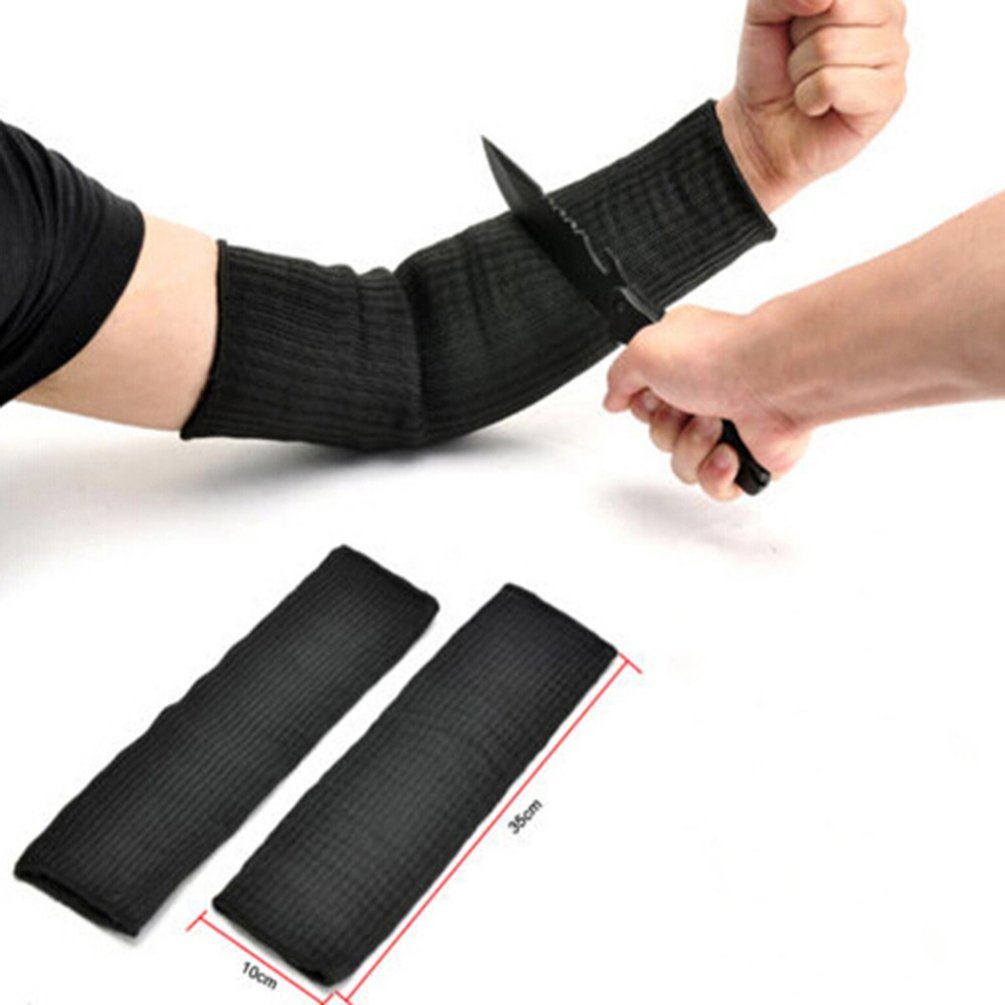 Arm Protection Sleeve Steel Wire Tactical Cut Proof Armband Arm Guard Bracers Anti- Cut Burn Resistant Sleeves Anti Abrasion (1 Pair, Black)