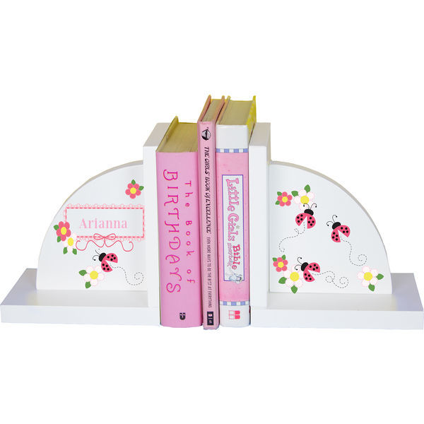 Personalized Pink Ladybugs Childrens Bookends