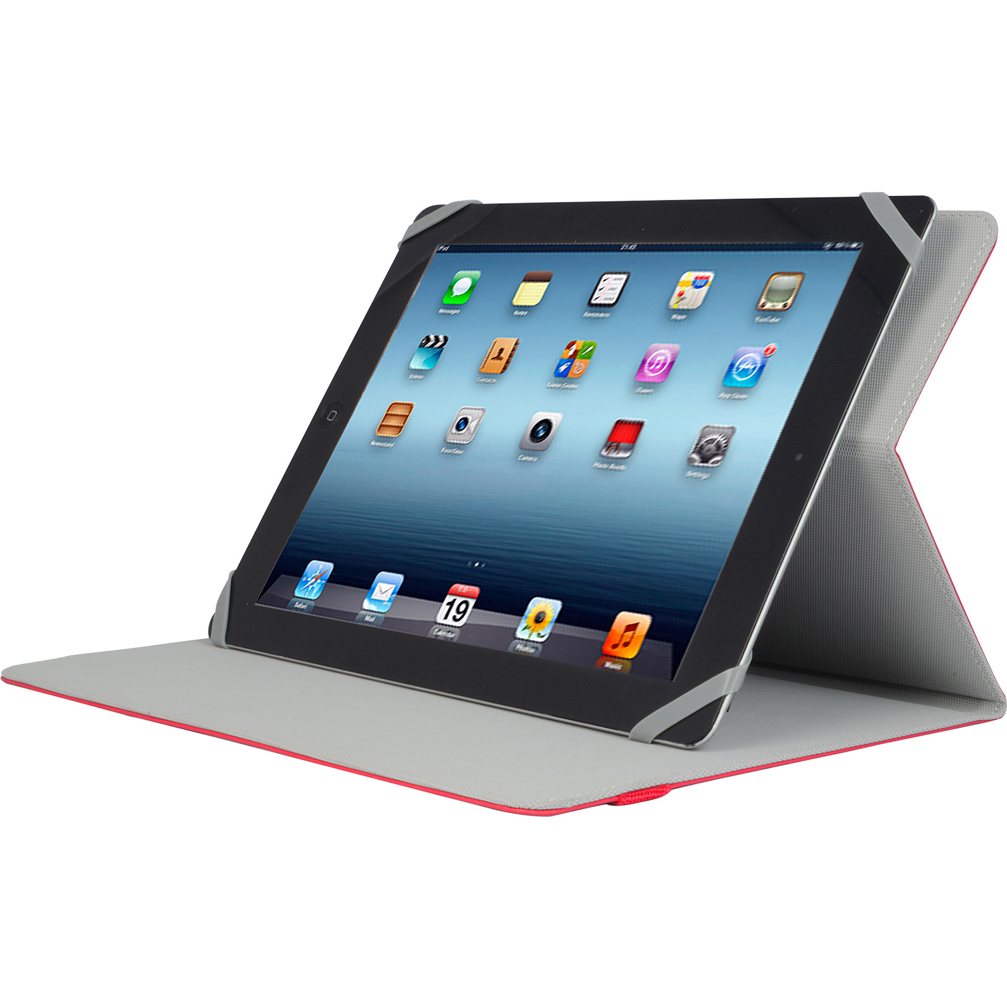 "V7 Slim Universal Folio Case for Apple iPad and 9""-10.1"" Tablet PCs, Red"