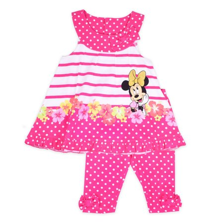 Polka Dot Ruffle Legging - Little Girls' 4-6X Stripe Polka Dot Swing Top and Capri Legging 2-Piece Outfit Set