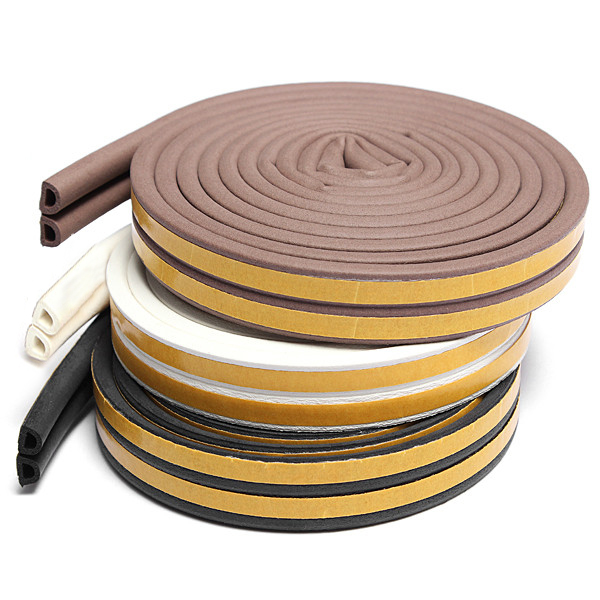 5M D Type Draught Excluder Self-Adhesive Weather Stripping Weatherstrip Rubber Foam Seal Strip For Door & Window, White