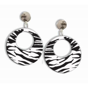 80s ZEBRA (BLK/WHT) EARRINGS](80's Jewelry)