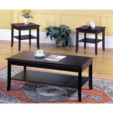 3 piece dark cherry wood occasional cocktail coffee 2 end tables set with storage shelf. Black Bedroom Furniture Sets. Home Design Ideas