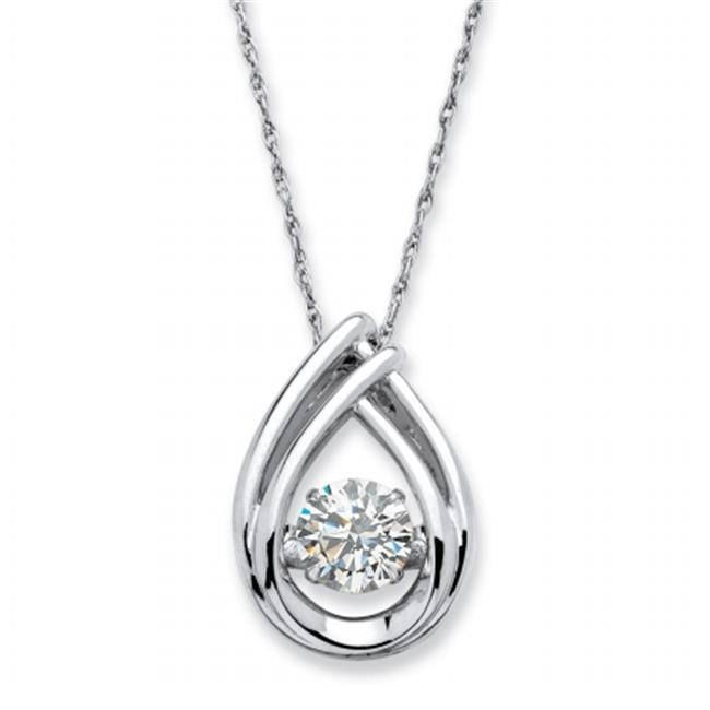 Palm Beach Jewelry 56264 18 in. 0.98 TCW Round Cubic Zirconia, Motion Cubic Zirconia Teardrop Necklace, Platinum Over... by PalmBeach Jewelry