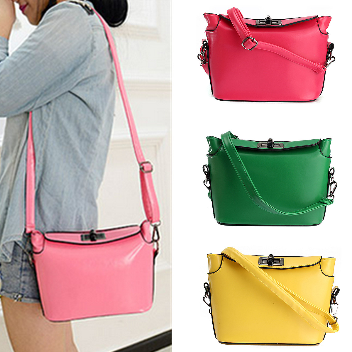Fashion Leather Handbag For Women Mini Colorful Casual Shoulder Messenger Bag