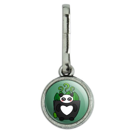 Green Tea in Giant Panda Bear Mug Antiqued Charm Clothes Purse Suitcase Backpack Zipper Pull Aid