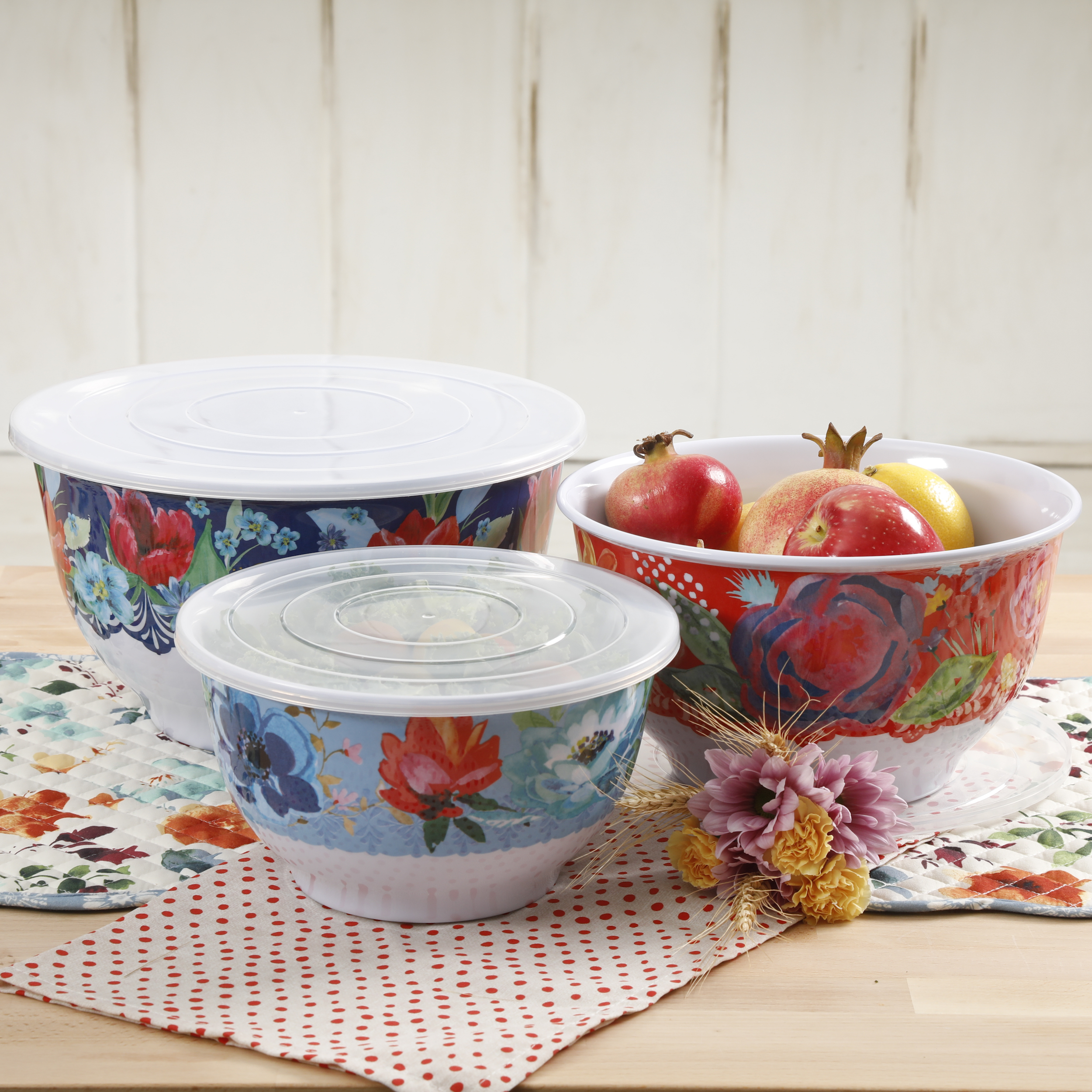 The Pioneer Woman Spring Bouquet 3-Piece Melamine Serving Bowl Set