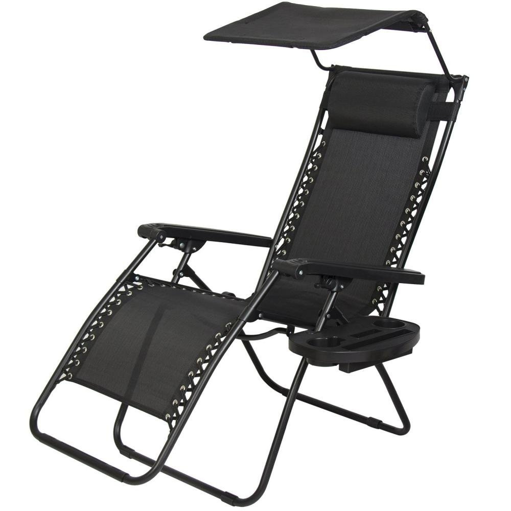 New Zero Gravity Chair Lounge Patio Chairs with canopy Cup Holder