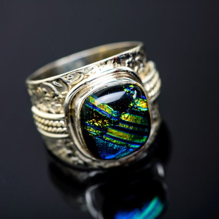 Dichroic Glass Ring Size 8.75 (925 Sterling Silver)  - Handmade Boho Vintage Jewelry RING951261