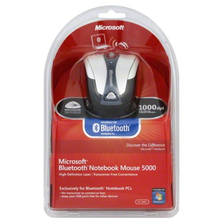 721aea703ac Microsoft Bluetooth Notebook Mouse 5000 - Mouse - right and left-handed -  laser - 4 buttons - wireless - Bluetooth - gray, white - retail -  Walmart.com