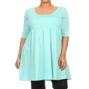 MOA COLLECTION Women's Plus Size Solid 3/4 Sleeve Relax Fit Jersey Knit Tunic Top Dress/Made in USA