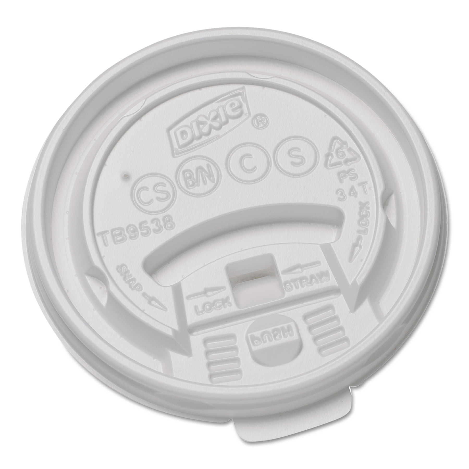 Dixie Plastic Lids for 8 oz Hot Drink Cups, 1000 count -DXETB9538X