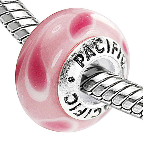 Pacific 925 Charms Sterling Silver Core Glass Bead, Watermelon Tango