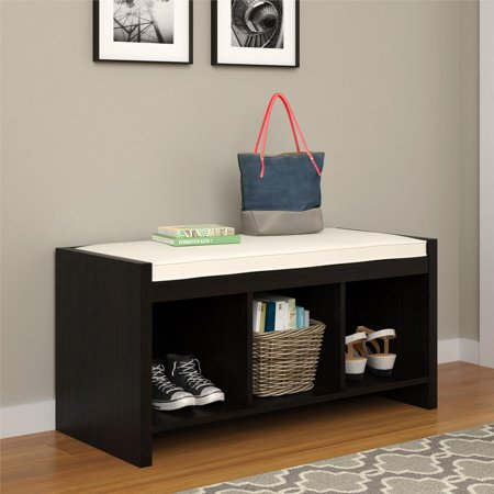 Ameriwood Home Penelope Entryway Storage Bench with Cushion, Espresso ()