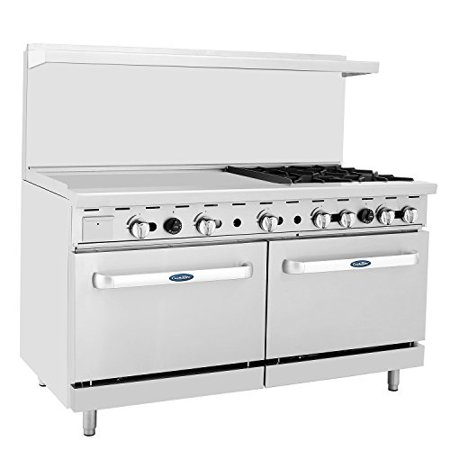 Cookrite Commercial Natural Gas Range 4 Burner Hotplates With 36 Manual Griddle 2 Standard Ovens 60 Restaurant Range 229 000 Btu