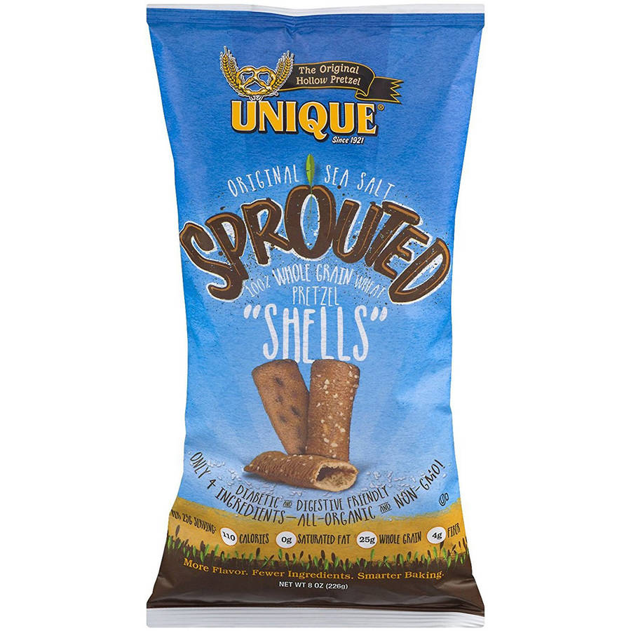 "Unique 100% Whole Grain Wheat Sprouted Pretzel ""Shells"", 8 oz"