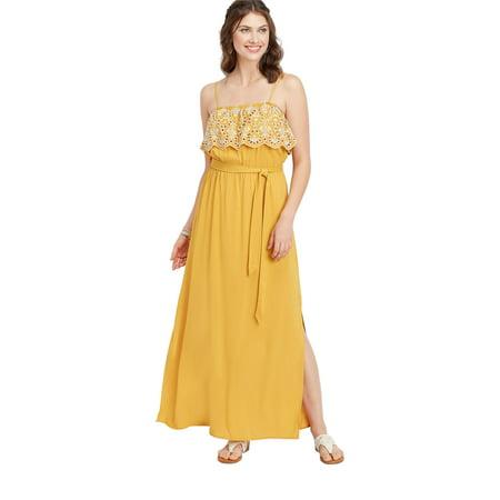 1fce999d56 maurices - Yellow Eyelet Trim Maxi Dress - Walmart.com