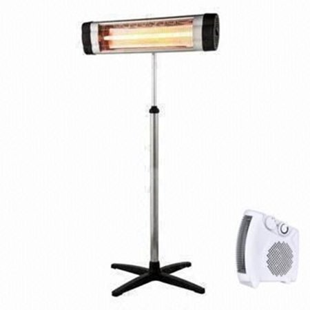 E-Joy Heater Combo 1500W Remote control LED Carbon Infrared Indoor/Outdoor Patio Heater + 1500W 3 Level Heat Adjust Indoor Space -