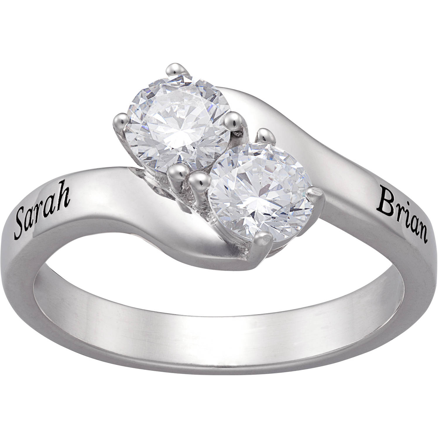 Personalized Round CZ Sterling Silver Bypass Duo Engraved Engagement Ring