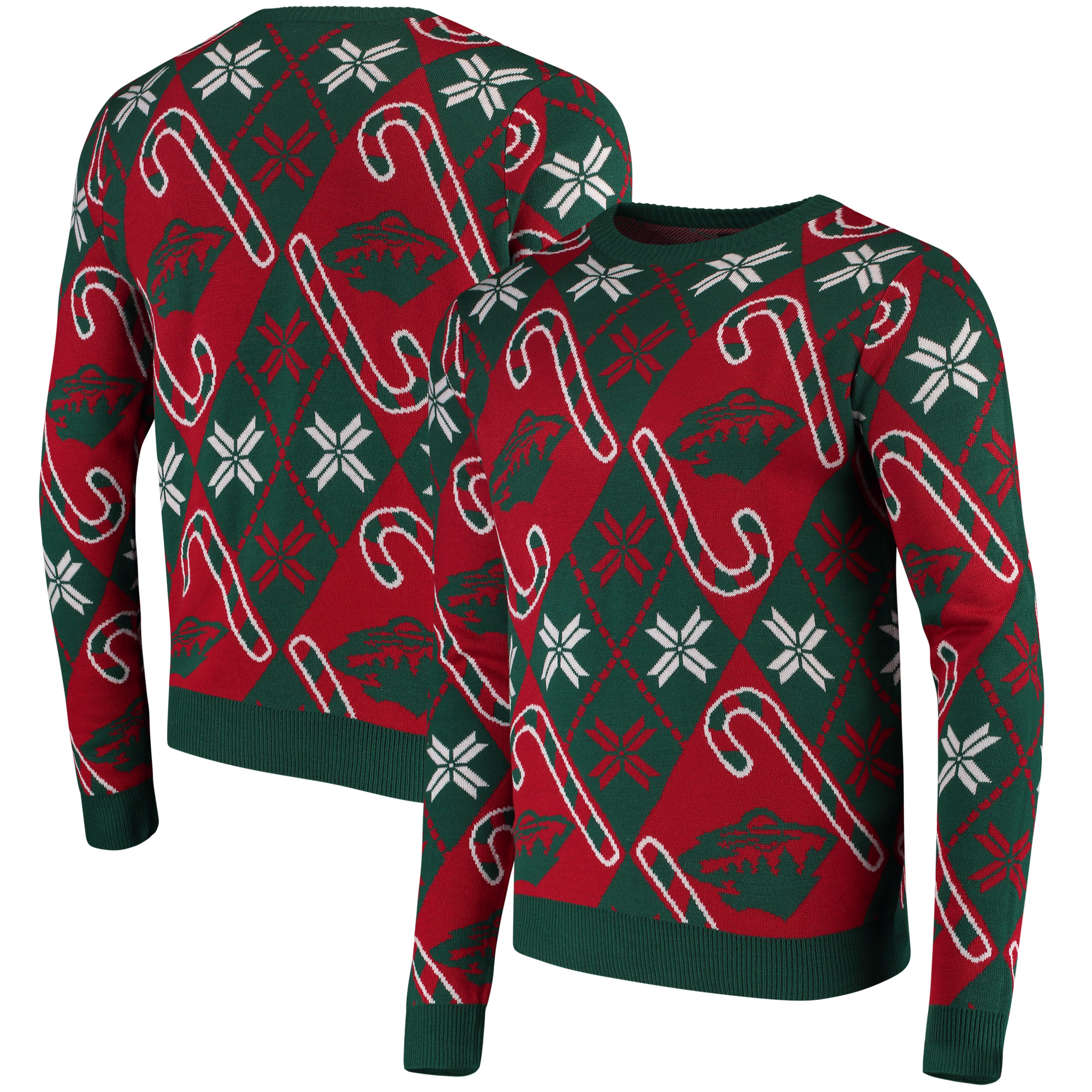 Minnesota Wild Candy Cane Ugly Sweater - Green
