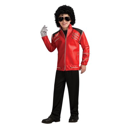Michael Jackson Deluxe Red Zipper Jacket Child Halloween Costume (Lab Coat Halloween Ideas)