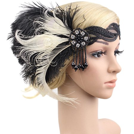 LuckyFine 1920s Feather Headband Bridal 20's Great Gatsby Flapper Costume Dress Headpiece - Burlesque Headpiece