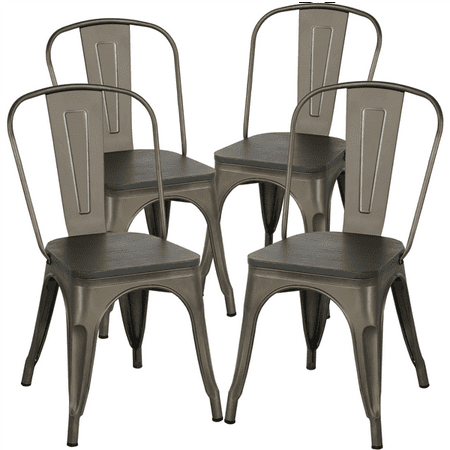 Topeakmart Metal Dinning Chairs with Wooden Seat Bistro Cafe Stackable Side Chairs Set of 4 ()