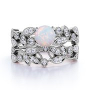 1.34 ct Vintage Round Blue Fire Opal & Diamond Flower Wedding Ring Set in 10K White Gold