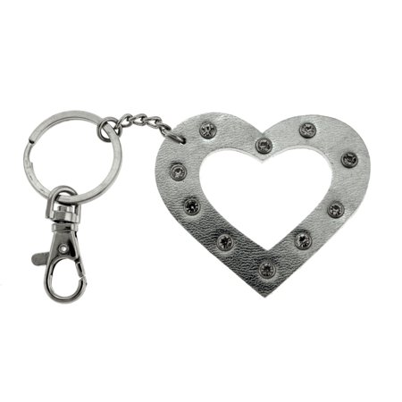 Rhinestone Accented Metallic Silver Colored Heart Keychain With Trigger Snap KEKC4375
