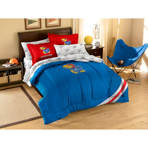 NCAA Applique Bedding Comforter Set with Sheets, University of Kansas