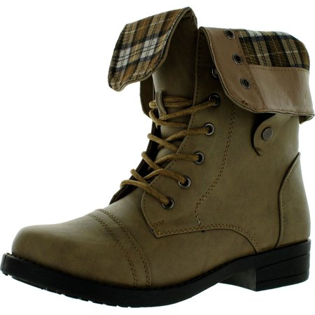 Cuff Flat Boot (Anna Womens Tammy-12 Comfy Mid-Calf Cuff Military Combat Flat Lace Up)