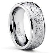 Women's 7MM Stainless Steel Ring Engraved Florentine Design Sizes 4-13