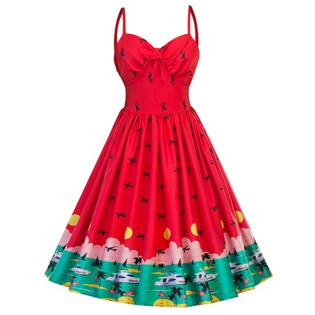 f27935fde3fc NEW Watermelon Print Dress Girls Dress Swing Strap sexy A-Line Retro Red  Dresses Women Knee Length Casual Sundress Fashion Party Spring Summer  Autumn Winter